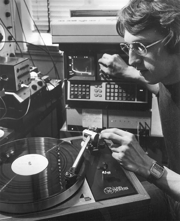 Archive image of an LP12 record player being tested